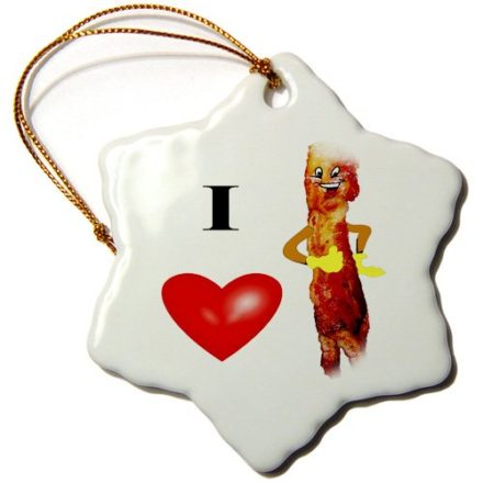 3dRose-orn445351-I-Love-Bacon-Snowflake-Decorative-Hanging-Ornament-Porcelain-3-Inch-0