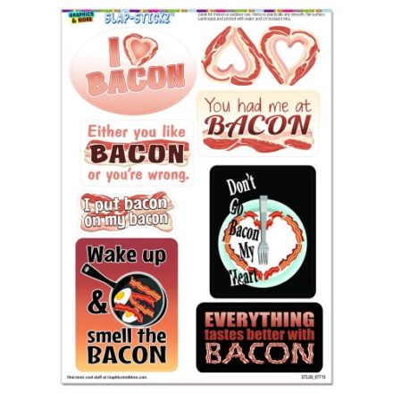 Bacon-Fun-I-Love-Heart-Bacon-Food-SLAP-STICKZTM-Party-Scrapbook-Craft-Car-Window-Locker-Stickers-0