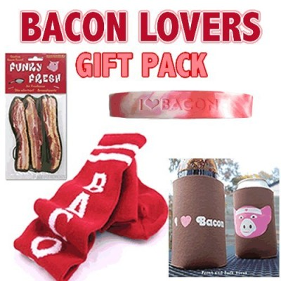 Bacon-Lovers-Gift-Pack-4pc-Set-Bacon-Socks-Koozie-Wristband-Air-Freshener-0