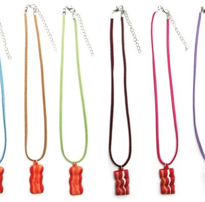 Bacon-Necklace-16-Faux-Suede-Cord-Assorted-Colors-0