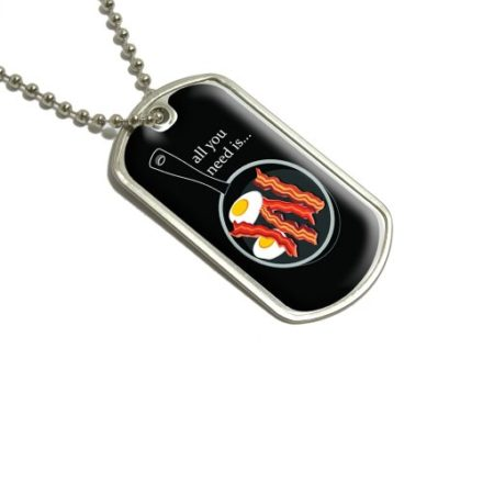 Bacon-and-Eggs-All-You-Need-Black-Breakfast-Military-Dog-Tag-Keychain-0