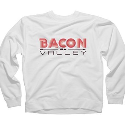 Bacon-valley-Mens-Medium-White-Graphic-Crew-Sweatshirt-Design-By-Humans-0