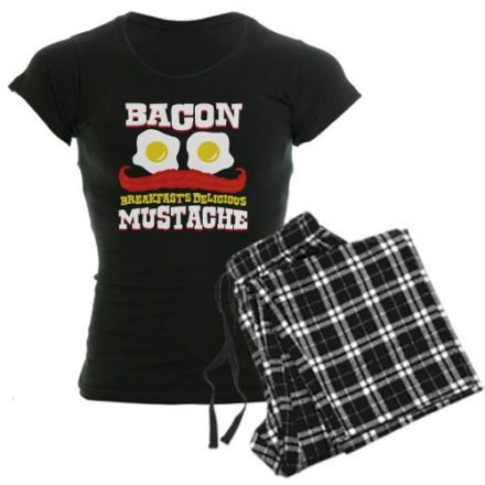 CafePress-Bacon-Mustache-Womens-Dark-Pajamas-Womens-Dark-Pajamas-M-With-Checker-Pant-0