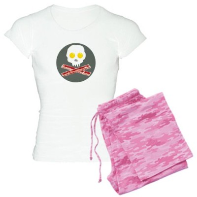 CafePress-Bacon-and-Eggs-Skull-and-Crossbones-Pajamas-Womens-Light-Pa-L-With-Pink-Camo-Pant-0
