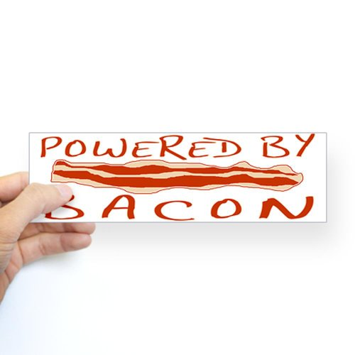 Cafepress powered by bacon sticker