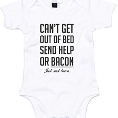 Cant-Get-Out-Of-Bed-Send-Bacon-Printed-Baby-Grow-WhiteBlack-3-6-Months-0