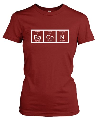 Womens Chemistry of Bacon T Shirt Funny Periodic Table Tee ...