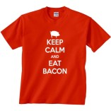 Fair-Game-Keep-Calm-and-Eat-Bacon-pig-Funny-T-Shirt-Red-Adult-Large-0