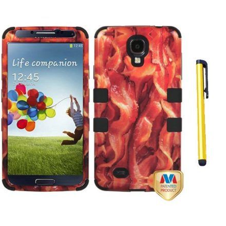 Hard-Plastic-Snap-on-Cover-Fits-Samsung-I337-I9500-Galaxy-S-4-Drooling-BaconBlack-TUFF-Hybrid--A-Gold-Color-StylusPen-ATT-0