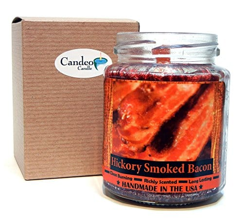 Hickory Smoked Bacon Wood Wick Candle, 8 oz Super Scented Natural ...