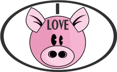 I-Love-Bacon-Funny-Pig-Bumper-Sticker-Decal-5-x-3-0