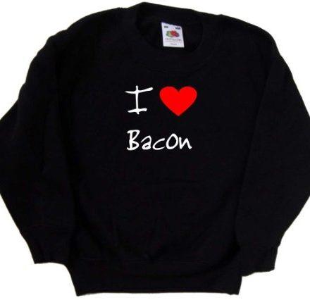 I-Love-Heart-Bacon-Black-Kids-Sweatshirt-White-print-12-13-Years-0