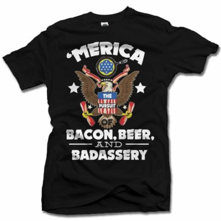 123df80b 'MERICA BACON, BEER, AND BADASSERY FUNNY AMERICA T-SHIRT XL Black Men's Tee  (6.1oz)
