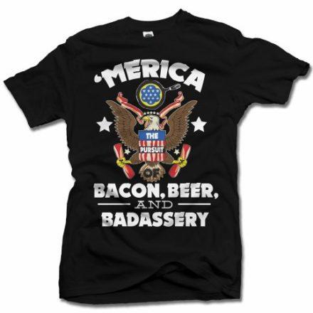 MERICA-BACON-BEER-AND-BADASSERY-FUNNY-AMERICA-T-SHIRT-XL-Black-Mens-Tee-61oz-0