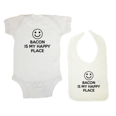 Mashed-Clothing-2-Pack-Bacon-Is-My-Happy-Place-Baby-Bodysuit-Bib-0
