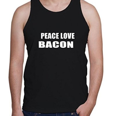PEACE-LOVE-BACON-Mens-Tank-Top-Tee-Shirt-Top-0