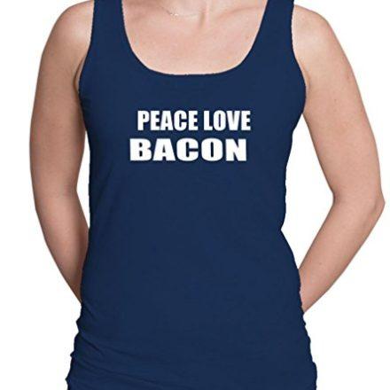 PEACE-LOVE-BACON-Womens-Tank-Top-Tee-Shirt-Top-0