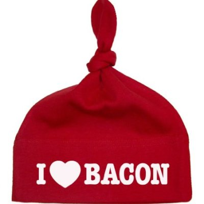 So-Relative-Red-Knotted-Baby-Infant-Hat-Cap-I-Love-Heart-Bacon-All-White-Design-0