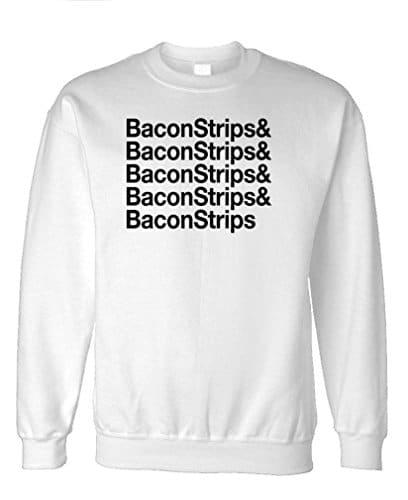 THE-GOOZLER-BACON-STRIPS-Mens-Fleece-Sweatshirt-XL-White-0