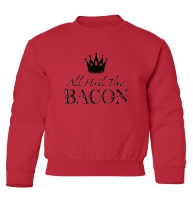 Tasty-Threads-All-Hail-The-Bacon-Black-Print-Kids-Sweatshirt-Red-Large-0