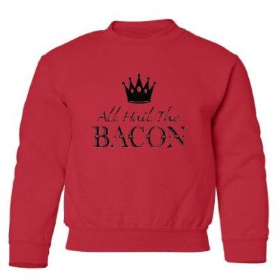 Tasty-Threads-All-Hail-The-Bacon-Black-Print-Kids-Sweatshirt-Red-Large-0