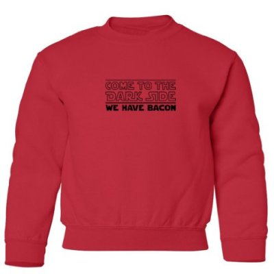 Tasty-Threads-Come-To-The-Dark-Side-We-Have-Bacon-Kids-Sweatshirt-Red-Large-0