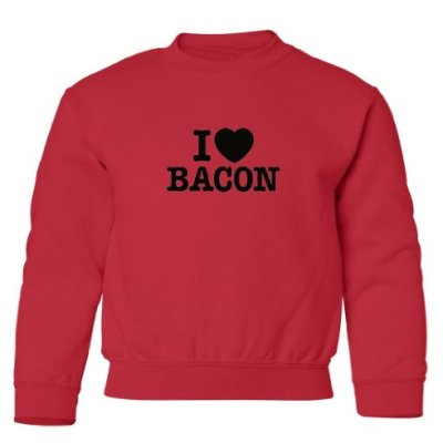 Tasty-Threads-I-Love-Heart-Bacon-Black-Print-Kids-Sweatshirt-Red-Small-0