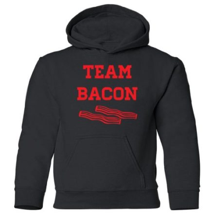 Tasty-Threads-Team-Bacon-Kids-Hooded-Sweatshirt-Black-Kids-Large-0