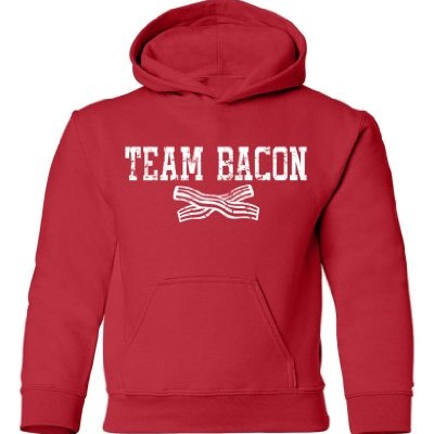 Tasty-Threads-Team-Bacon-Kids-Hooded-Sweatshirt-Red-Large-0