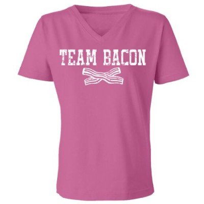Tasty-Threads-Team-Bacon-Womens-V-Neck-T-Shirt-Raspberry-Small-0