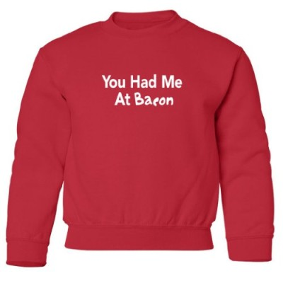 Tasty-Threads-You-Had-Me-At-Bacon-Kids-Sweatshirt-Red-Small-0