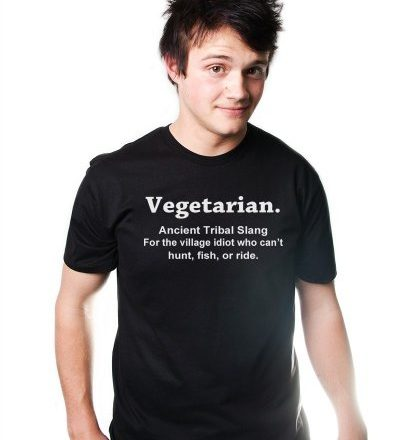 Vegetarian-Ancient-Tribal-Slang-T-Shirt-Meat-Lovers-Bacon-TEE-PETA-pig-hog-food-0