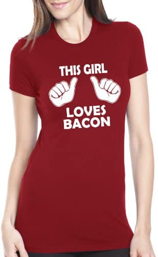 Womens-This-Girl-Loves-Bacon-T-Shirt-Funny-Food-Shirt-For-Women-M-0