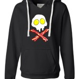 X-Large-Black-Womens-Bacon-And-Eggs-Skull-And-Crossbones-Deluxe-Soft-Hoodie-0