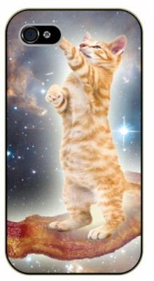 iPhone-4-4s-Bacon-cat-flying-in-space-black-plastic-case-Cats-Hipster-stars-0