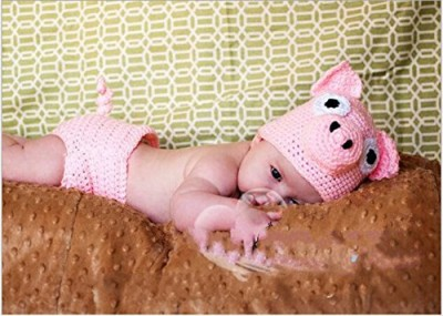 Jastore-Photography-Prop-Baby-Pink-Pig-Costume-Crochet-Knitted-Hat-Diaper-0