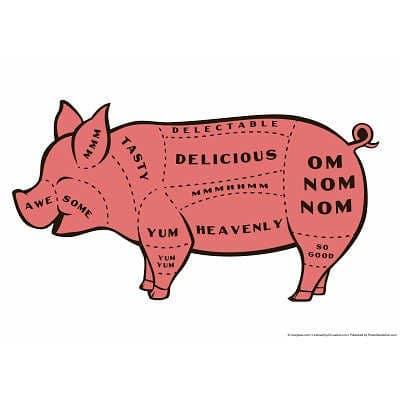 12x18-Tasty-Pig-Snorg-Tees-IndoorOutdoor-Plastic-Sign-0