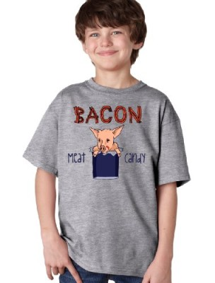 BACON-IS-MEAT-CANDY-Youth-T-shirt-Ron-Swanson-Pork-BBQ-Pork-Lover-Tee-Gray-Medium-0