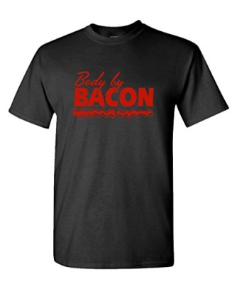 BODY-BY-BACON-funny-workout-meat-bbq-pork-Tee-Shirt-T-Shirt-L-Black-0
