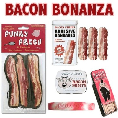 Bacon-Bonanza-Gift-Pack-5pc-Set-Bacon-Mints-Toothpicks-Air-Freshener-Wristband-Bandages-0