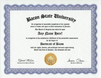 Bacon-Degree-Custom-Gag-Diploma-Doctorate-Certificate-Funny-Customized-Joke-Gift-Novelty-Item-0