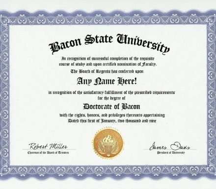 Bacon-Degree-Custom-Gag-Diploma-Doctorate-Certificate-Funny-Customized-Joke-Gift-Novelty-Item-0