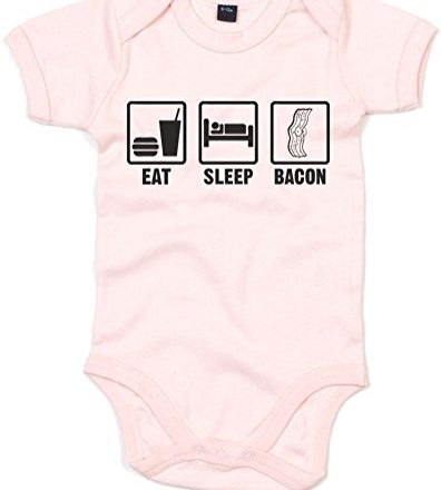 Eat-Sleep-Bacon-Printed-Baby-Grow-Powder-PinkBlack-3-6-Months-0