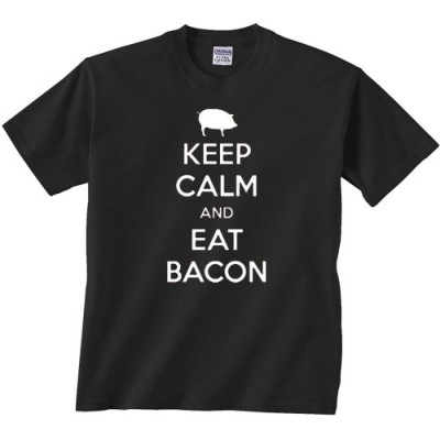 Fair-Game-Keep-Calm-and-Eat-Bacon-pig-Funny-T-Shirt-Black-Adult-XL-0