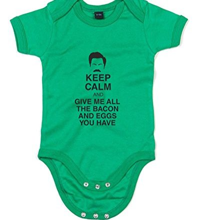 Give-Me-All-The-Bacon-Printed-Baby-Grow-Kelly-GreenBlack-6-12-Months-0