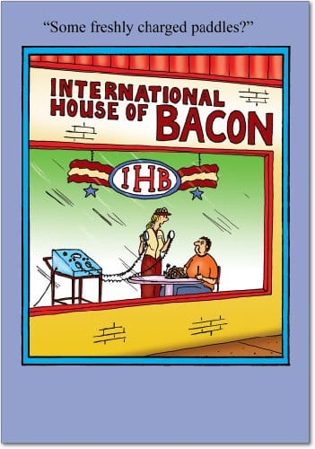 7749 House Of Bacon Humorous Birthday Paper Card With Envelope