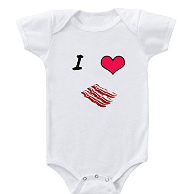 I-Love-Heart-Bacon-100--Cotton-Baby-Infant-Toddler-Baby-Bodysuit-Creeper-White-6-Months-0