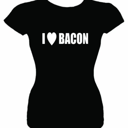 Juniors-Size-S-T-Shirt-I-LOVE-HEART-BACON-Fitted-Girls-Shirt-0