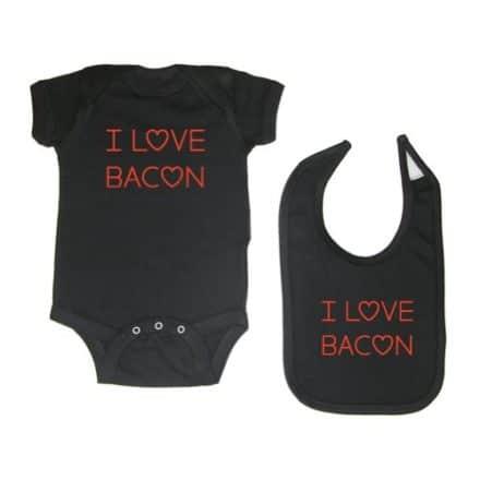 Mashed-Clothing-Unisex-Baby-2-Pack-I-Love-Bacon-Bodysuit-Bib-Black-6-Months-0