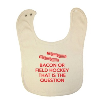 Mashed-Clothing-Unisex-Baby-Bacon-Or-Field-Hockey-That-Is-The-Question-Organic-Baby-Bib-0